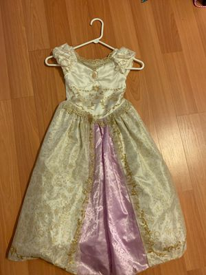 Rapunzel girls play dress costume size 5 / 6 small stain on the bottom for Sale in Miami, FL