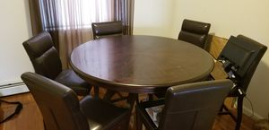 Dining Room table + 6 leather chairs for Sale in Woodbridge Township, NJ