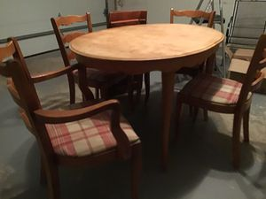 Solid fruit wood dining table and four chairs. for Sale in Clifton, NJ