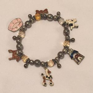 Dog theme charm bracelet silver yellow pink beads puppy dog charms for Sale in Phoenix, AZ