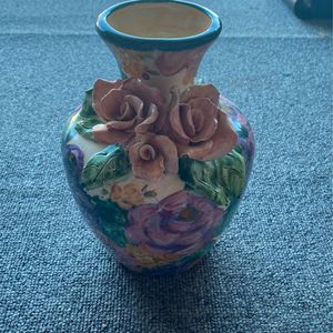 Lesal Cermaics Handcrafted Decorative Colorful Vase With Pink Flower for Sale in Westminster, MD