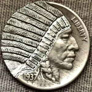 """Hand Carved """"Hobo"""" Buffalo Nickel 1937 Date One of a Kind """"'Indian Chief"""" for Sale in Geneva, IL"""