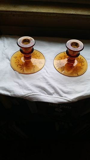 Antique amber glass taper candle holder pair for Sale in Cleveland, OH