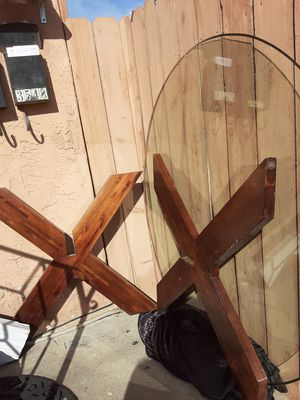 44 inch wooden glass table for Sale in San Diego, CA