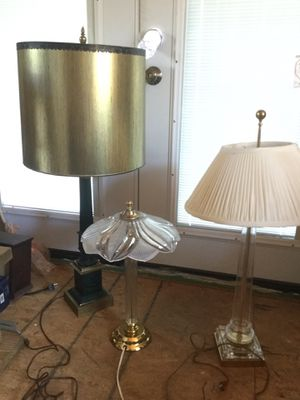 """Large Antique Vintage Green Metal Desk Lamp 40"""" Tall W/Gold Shade for Sale in Bethesda, MD"""