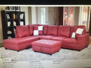 Red leather Sectional with ottoman ( new ) for Sale in Hayward, CA