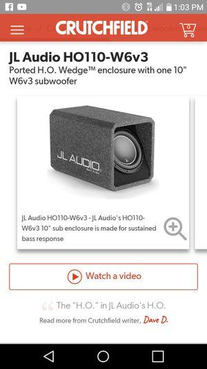 """JL Audio W6v3 Subwoofer 10"""" for Sale in Newark, CA"""