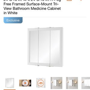 Home Decorators Collection 24-3/16 in. W x 24-3/16 in. H Fog Free Framed Surface-Mount Tri-View Bathroom Medicine Cabinet in White for Sale in Commerce, CA