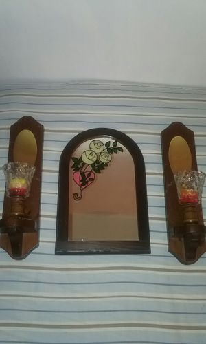 Big Wooden Mirror and small mirror, wooden wall candles holders for Sale in Winter Haven, FL