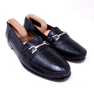 Mezlan Men's Dress Shoes Majorca Black Ostrich Leather Horsebit Loafers Size 11 for Sale in Huntington Beach, CA
