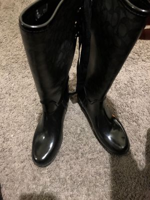 Coach rubber rain boots tristee signature for Sale in West Covina, CA