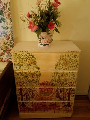 2 Artsy Painted, White wooden dressers for Sale in Rockville, MD