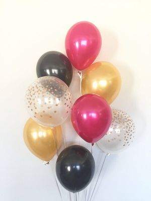 Gold black fushia balloon bouquet birthday party *FIRM * for Sale in Rancho Cucamonga, CA