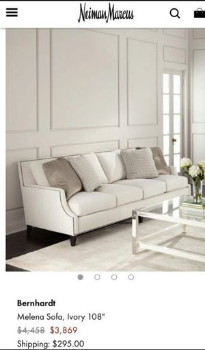 Bernhardt Melena Sofa Couch Sectional - Ivory 108 Couch with stud details for Sale in Lake Worth, FL