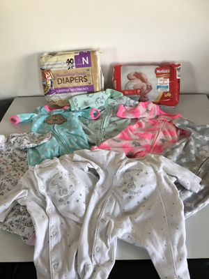 7 preemie sleepers and 54 diapers for Sale in Everett, WA