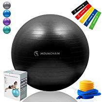 Yoga Ball with Resistance Bands for Fitness, 65cm Exercise Ball 2000lbs Anti Burst Equipment for Home Workout, Balance, Gym, Yoga, Desk Chairs (Blac for Sale in Sandusky, OH