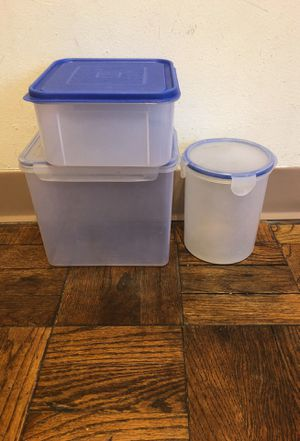 Two Four lock plastic containers and one plastic storage container for Sale in Chicago, IL