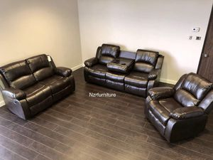 3-PC Brown Leather Living Room Recliner Set for Sale in Austin, TX