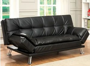 Furniture of America Leather Futon Sofa - Black for Sale in Waddell, AZ