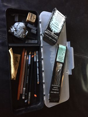 Charcoal pencils and sticks with case art supplies for Sale in Chicago, IL