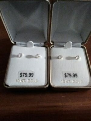 *** 10k Gold Diamond Earrings *** for Sale in Manchester, CT