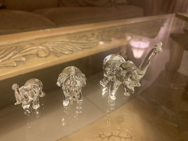 Crystal elephants, set of 3
