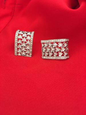 Diamond and white gold Heart design,French clasp earrings for Sale in Las Vegas, NV