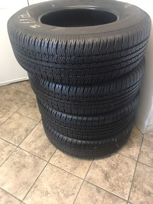 SET GOODYEAR WRANGLER 265/70/17 GOOD USED 95%TREAD LIFE $300 INCLUDE PROFESSIONAL INSTALLATION AND TAX for Sale in Whittier, CA