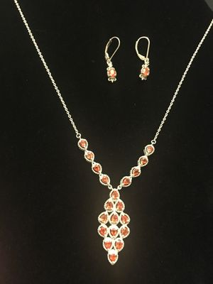 Genuine fire opal & sterling silver jewelry set for Sale in West Richland, WA