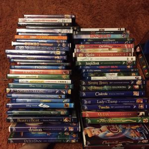 Over 50 authentic Disney and children's DVDs and Blu-ray's some from the vault for Sale in Chesapeake, VA