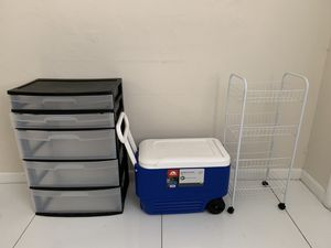 Plastic drawer, Shoe Rack and Ice cooler with wheel for Sale in Miami, FL