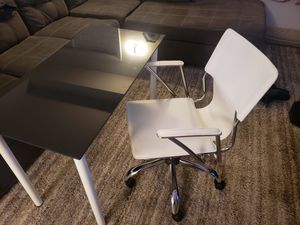 Ikea glass desk with leather chair for Sale in Hialeah, FL