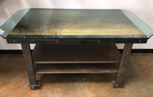 Antique Industrial Work Table/Kitchen Island w Glass-top for Sale in Oakland, CA
