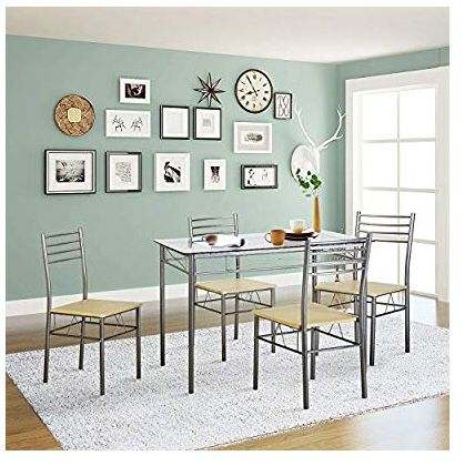 Glass table 4 chair dining set