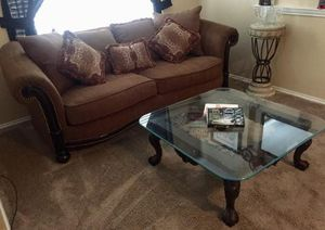 """Beautiful STACY down filled sofa 92"""" and 40"""" glass top table was over $2400 new from a clean , smoke free home . for Sale in Murphy, TX"""
