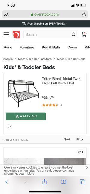 Twin over full black metal frame bunk bed for Sale in Milwaukee, WI
