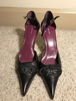 Bronx, black leather heels, size 10 for Sale in Houston, TX