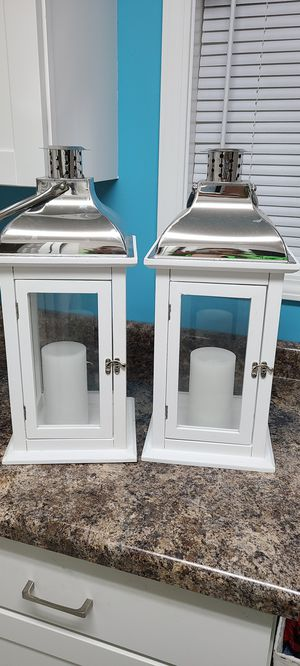 Large White Lanterns with Fake Candles for Sale in Newburgh, IN