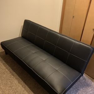 Futon Sofa, Black Leather for Sale in Everett, WA