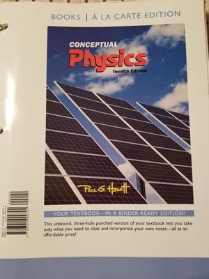 Conceptual physics, 12th edition. by Paul Hewitt. With work books. for Sale in Lubbock, TX
