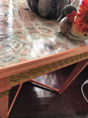 Decorative painted table detailed scroll in gold. Mint & Peach vintage advertising on top for antique shabby chic excellence for Sale in McKees Rocks, PA