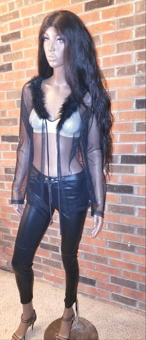 Fishnet jacket with faux fur collar Size Large for Sale in Washington, DC