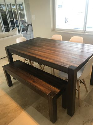 Modern Wood Dining Room Table + Bench + 4 Mid-Century Modern Chairs for Sale in Oakland Park, FL
