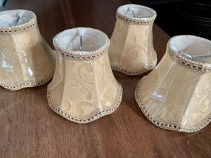 Lamp Shades - 4 pale yellow & 2 Grey / Greenish Color for small light or chandelier for Sale in Wheat Ridge, CO