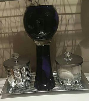 Tray, apothecary jar set and vase for Sale in Peoria, IL