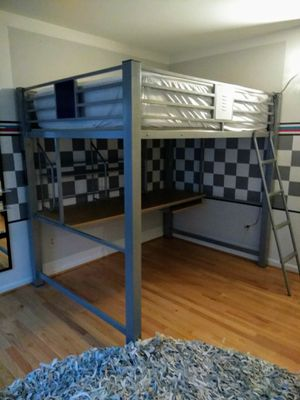 Full size loft bed with mattress and desk chair for Sale in Ashburn, VA