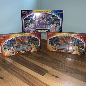 (3) Sealed Pokémon Kanto Power Box Collection Evolution Packs; 1 Mewtwo And 2 Dragonite for Sale in Trenton, NJ