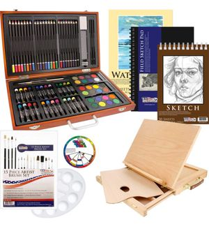 US Art Supply 82 Piece Deluxe Art Creativity Set In Wooden Case, Wood Desk Easel & 20 Bonus Additional Pieces for Sale in Los Angeles, CA