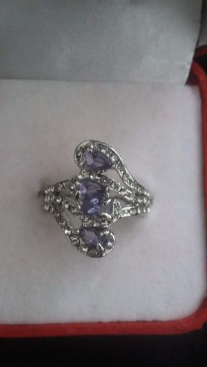 Ladies fashion 925 silver natural sapphire gemstone diamond ring princess wedding band size 9 for Sale in Moreno Valley, CA