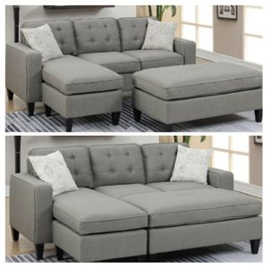 Reversible sectional sofa with ottoman light grey fabric for Sale in Long Beach, CA